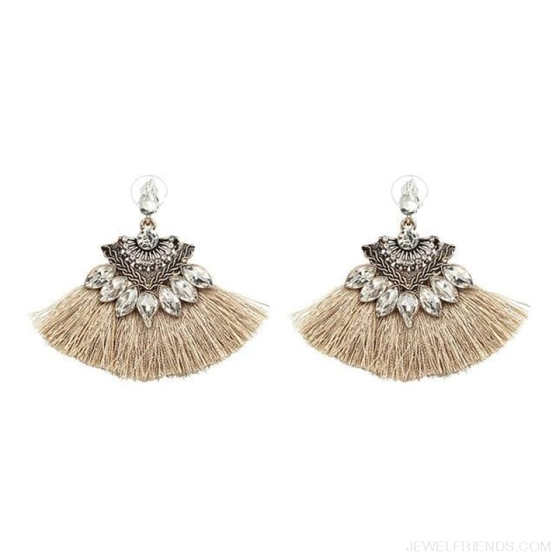 Fan Shaped Cotton Handmade Tassels Fringed Earrings - Brown11 - Custom Made | Free Shipping