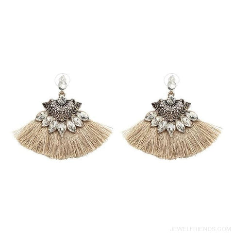 Image of Fan Shaped Cotton Handmade Tassels Fringed Earrings - Brown11 - Custom Made | Free Shipping