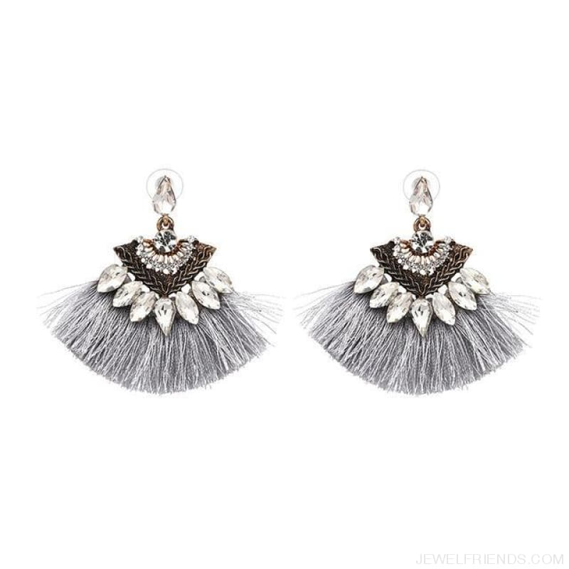Fan Shaped Cotton Handmade Tassels Fringed Earrings - Gray1 - Custom Made | Free Shipping
