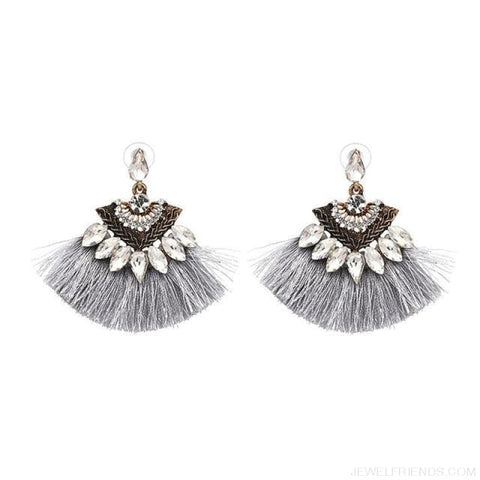 Image of Fan Shaped Cotton Handmade Tassels Fringed Earrings - Gray1 - Custom Made | Free Shipping