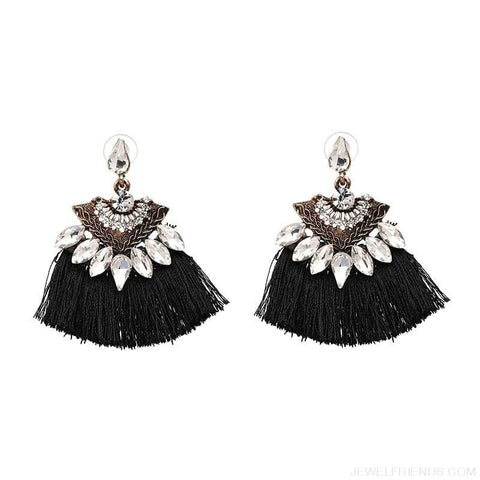 Image of Fan Shaped Cotton Handmade Tassels Fringed Earrings - Custom Made | Free Shipping