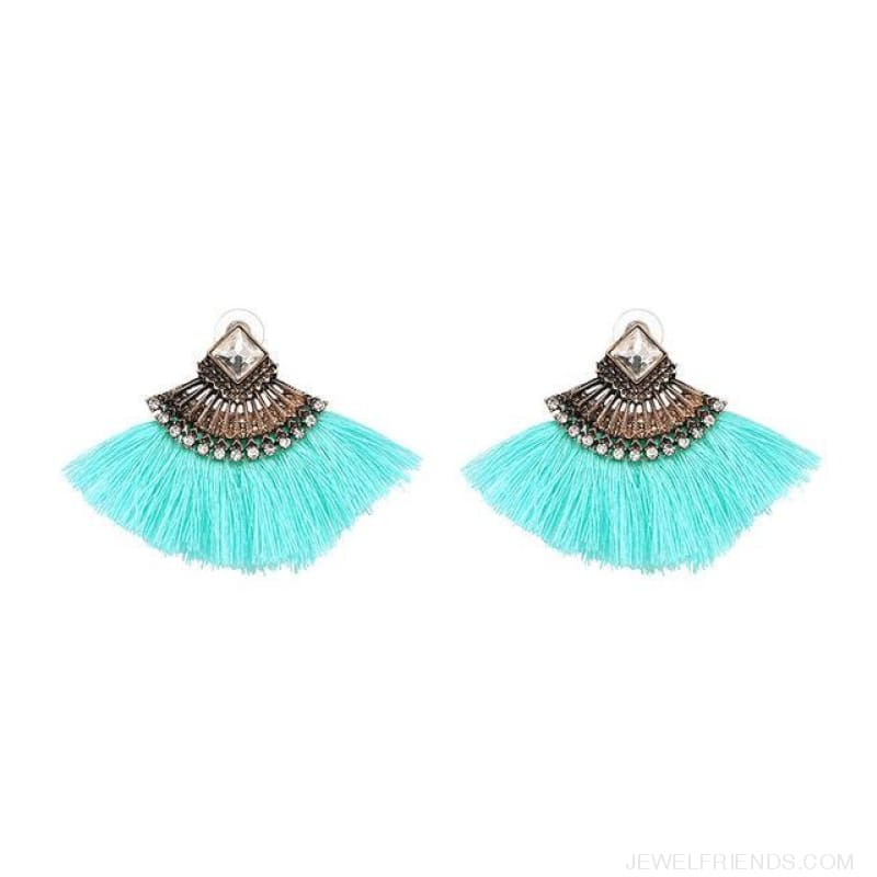Fan Shaped Cotton Handmade Tassels Fringed Earrings - Light Blue - Custom Made | Free Shipping
