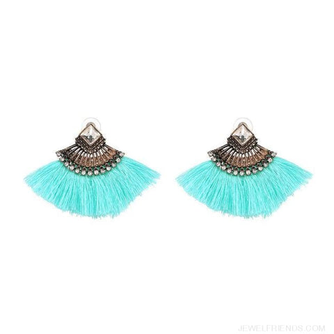 Image of Fan Shaped Cotton Handmade Tassels Fringed Earrings - Light Blue - Custom Made | Free Shipping