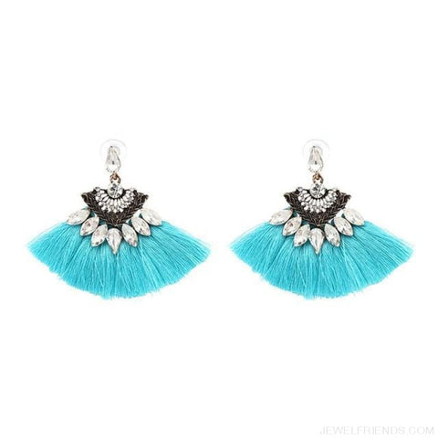 Image of Fan Shaped Cotton Handmade Tassels Fringed Earrings - Light Blue1 - Custom Made | Free Shipping