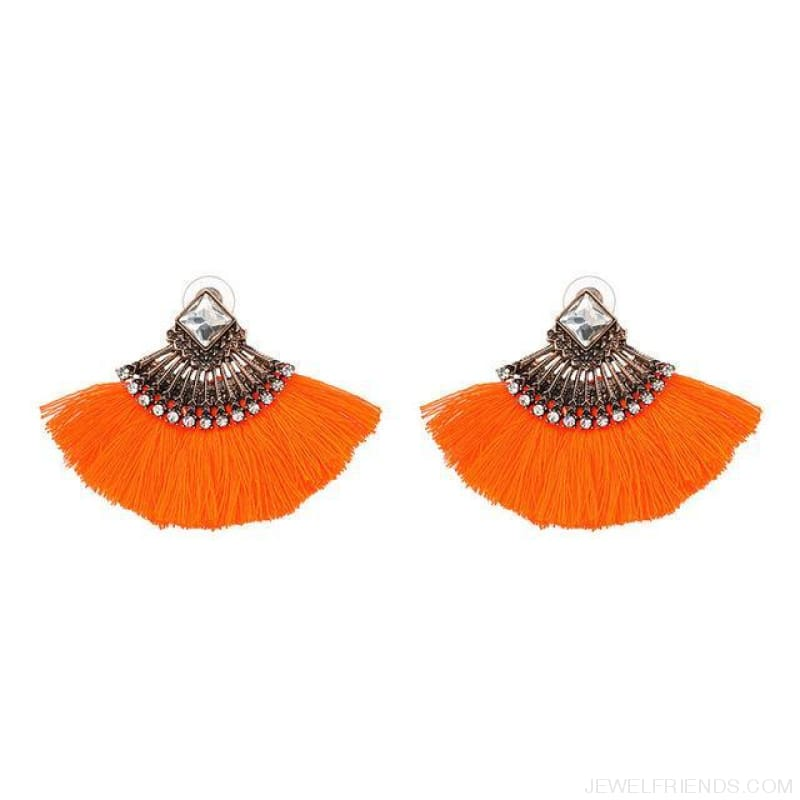 Fan Shaped Cotton Handmade Tassels Fringed Earrings - Orange - Custom Made | Free Shipping