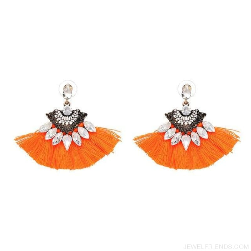 Fan Shaped Cotton Handmade Tassels Fringed Earrings - Orange1 - Custom Made | Free Shipping
