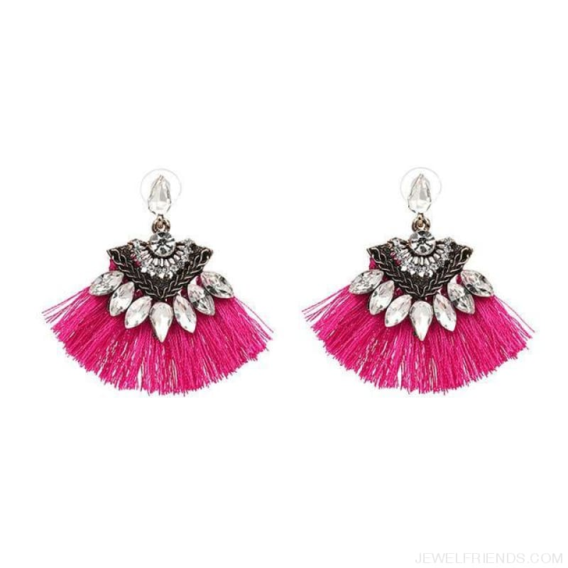 Fan Shaped Cotton Handmade Tassels Fringed Earrings - Pink1 - Custom Made | Free Shipping