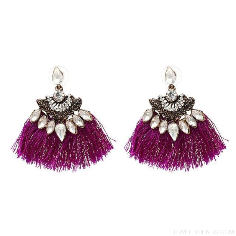 Fan Shaped Cotton Handmade Tassels Fringed Earrings - Purple1 - Custom Made | Free Shipping