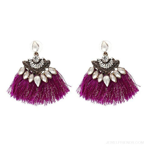 Image of Fan Shaped Cotton Handmade Tassels Fringed Earrings - Purple1 - Custom Made | Free Shipping
