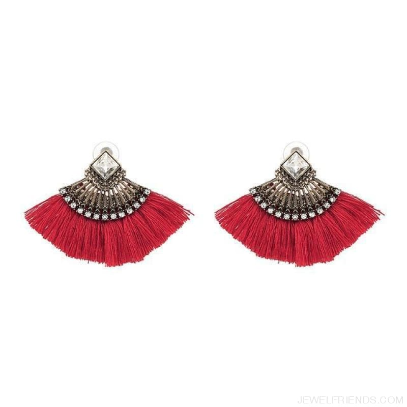 Fan Shaped Cotton Handmade Tassels Fringed Earrings - Red - Custom Made | Free Shipping