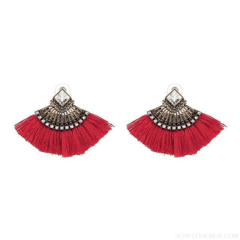 Image of Fan Shaped Cotton Handmade Tassels Fringed Earrings - Red - Custom Made | Free Shipping