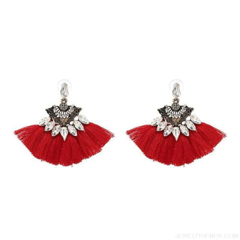 Image of Fan Shaped Cotton Handmade Tassels Fringed Earrings - Red1 - Custom Made | Free Shipping
