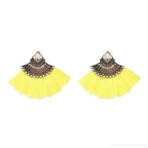 Image of Fan Shaped Cotton Handmade Tassels Fringed Earrings - Yellow - Custom Made | Free Shipping