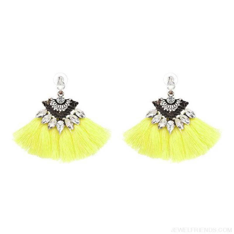 Fan Shaped Cotton Handmade Tassels Fringed Earrings - Yellow1 - Custom Made | Free Shipping