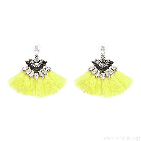 Image of Fan Shaped Cotton Handmade Tassels Fringed Earrings - Yellow1 - Custom Made | Free Shipping