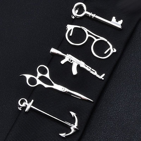 Feather Glasses Anchor Mustache Key Shape Silver Metal Tie Clip - Custom Made | Free Shipping