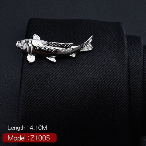 Feather Glasses Anchor Mustache Key Shape Silver Metal Tie Clip - Z1005 - Custom Made | Free Shipping