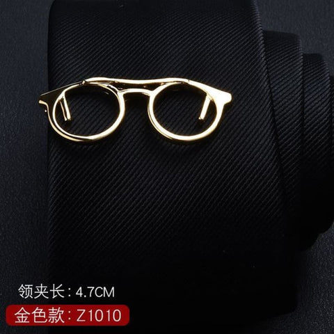 Feather Glasses Anchor Mustache Key Shape Silver Metal Tie Clip - Z1010 - Custom Made | Free Shipping
