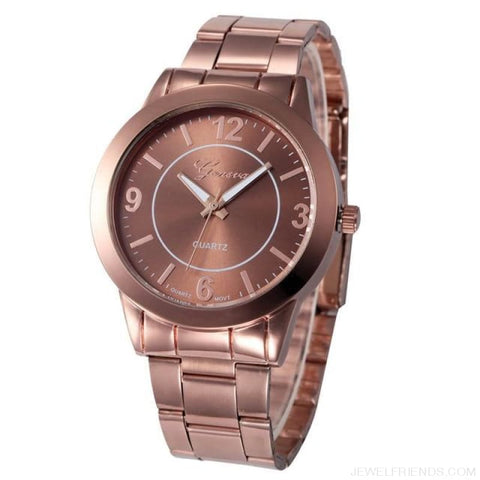Image of Feminino Rose Gold Silver Watch Quartz Analog - Brown - Custom Made | Free Shipping