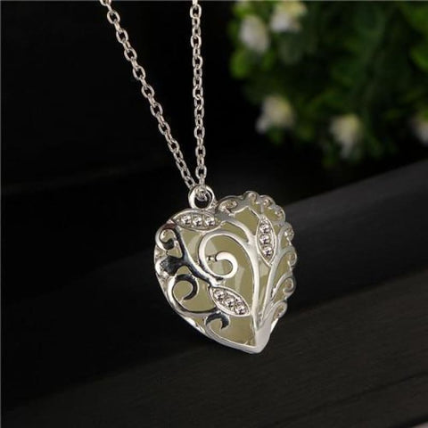 Image of Festoon Heart Pendant Luminous Glow Necklace - Yellow - Custom Made | Free Shipping