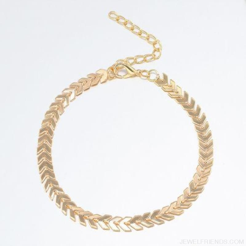Fishbone Chain Anklets - Light Yellow Gold Color - Custom Made | Free Shipping