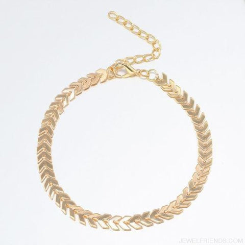 Image of Fishbone Chain Anklets - Light Yellow Gold Color - Custom Made | Free Shipping
