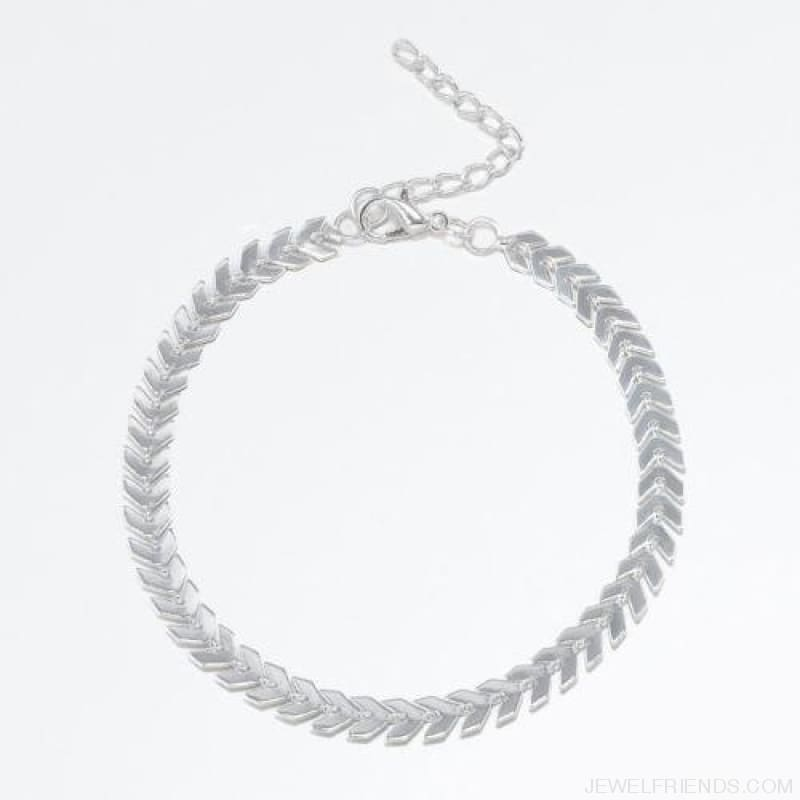 Fishbone Chain Anklets - Silver Plated - Custom Made | Free Shipping