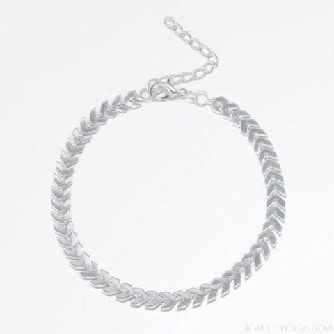 Image of Fishbone Chain Anklets - Silver Plated - Custom Made | Free Shipping