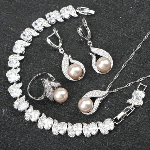 Freshwater Natural Pearl 925 Silver Jewelry Sets - 4Pcs / 6 - Custom Made | Free Shipping