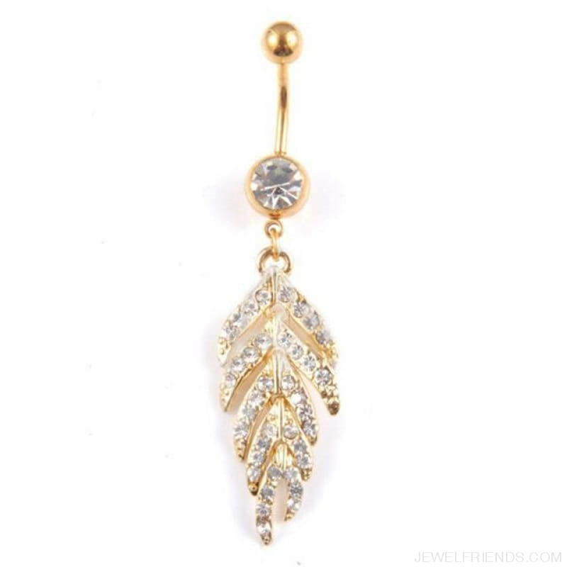 Full Rhinestone Leaf Navel Piercing - Gold - Custom Made | Free Shipping