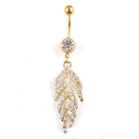 Image of Full Rhinestone Leaf Navel Piercing - Gold - Custom Made | Free Shipping