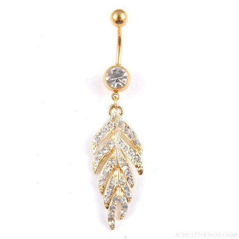 Image of Full Rhinestone Leaf Navel Piercing - Custom Made | Free Shipping