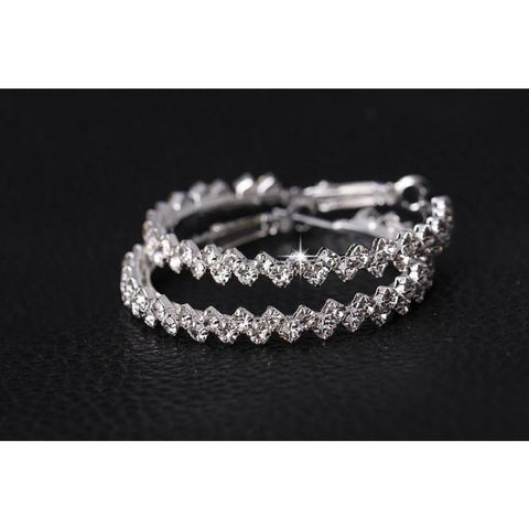Image of Geometric Austrian Crystal Hoop Earrings - Custom Made | Free Shipping