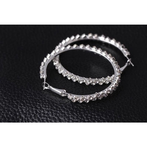Geometric Austrian Crystal Hoop Earrings - Custom Made | Free Shipping