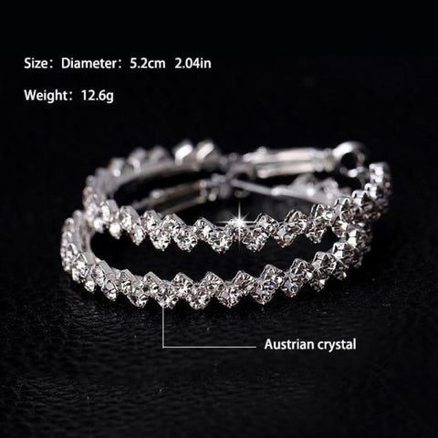 Image of Geometric Austrian Crystal Hoop Earrings - Picture 12N49 - Custom Made | Free Shipping