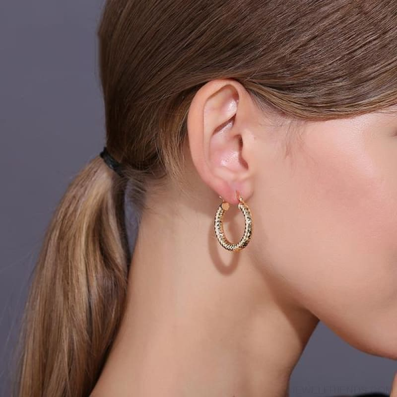 Geometric Shiny Gold Color Metal Hoop Earrings - Custom Made | Free Shipping