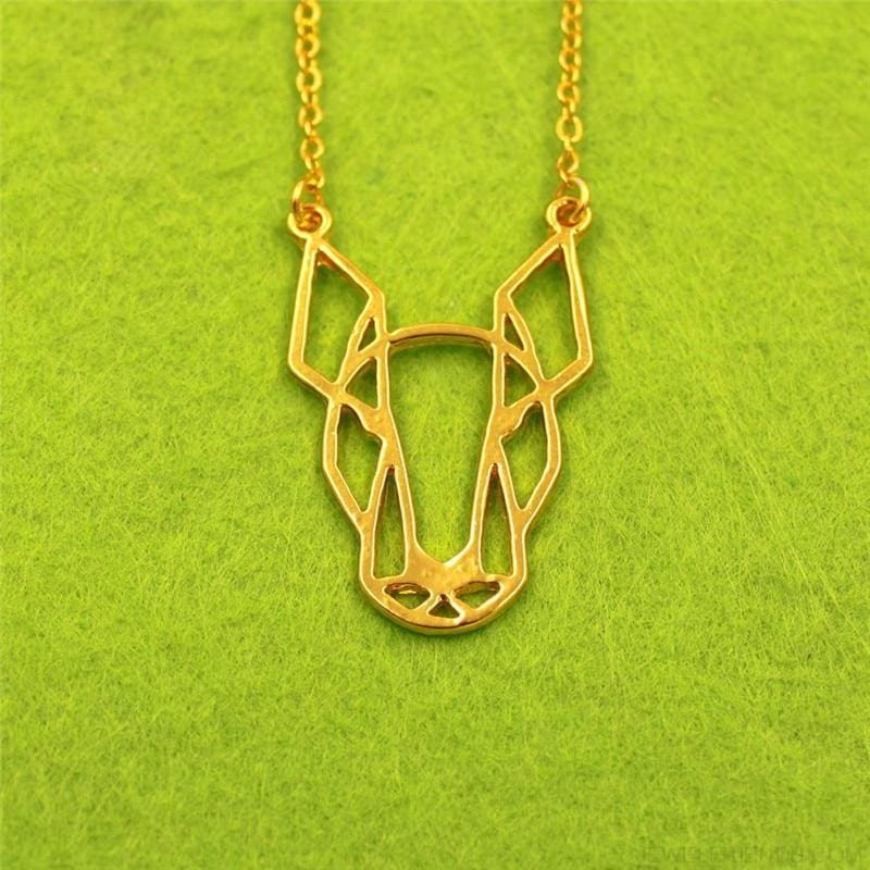 Geometric Simple Bull Terrier Pendant Necklace - Gold - Custom Made | Free Shipping