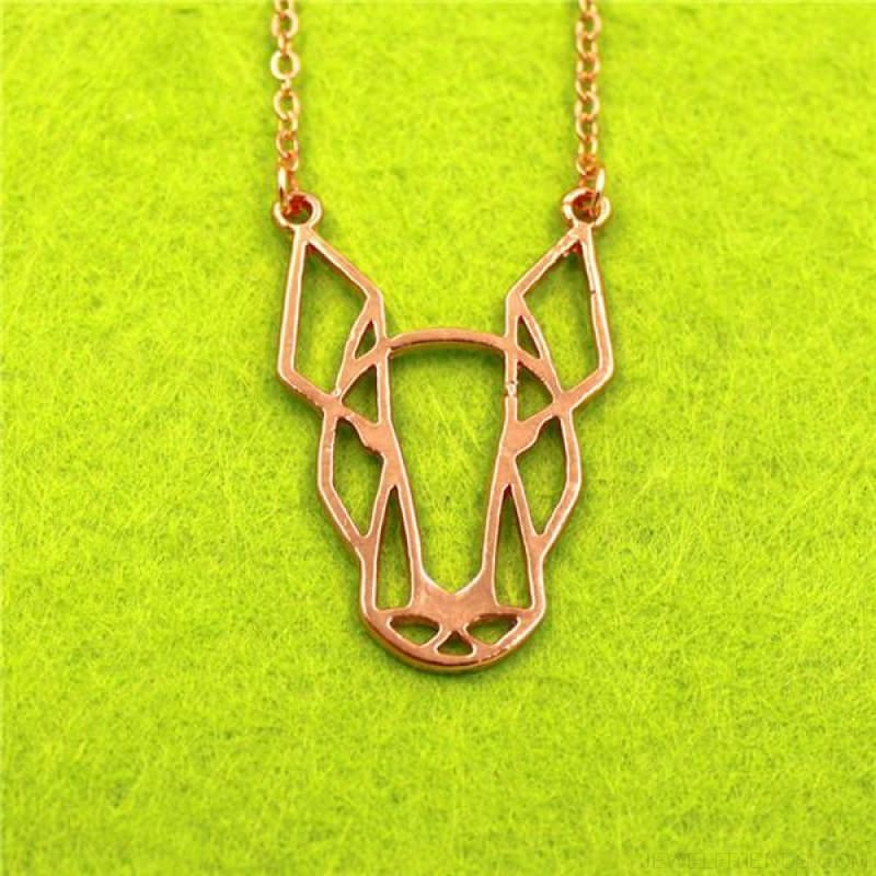 Geometric Simple Bull Terrier Pendant Necklace - Rose Gold - Custom Made | Free Shipping
