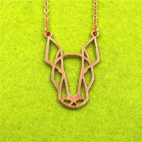 Image of Geometric Simple Bull Terrier Pendant Necklace - Rose Gold - Custom Made | Free Shipping