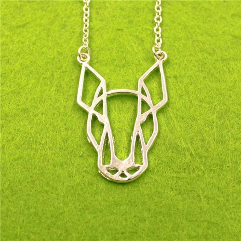 Geometric Simple Bull Terrier Pendant Necklace - Silver - Custom Made | Free Shipping
