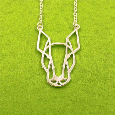 Image of Geometric Simple Bull Terrier Pendant Necklace - Silver - Custom Made | Free Shipping