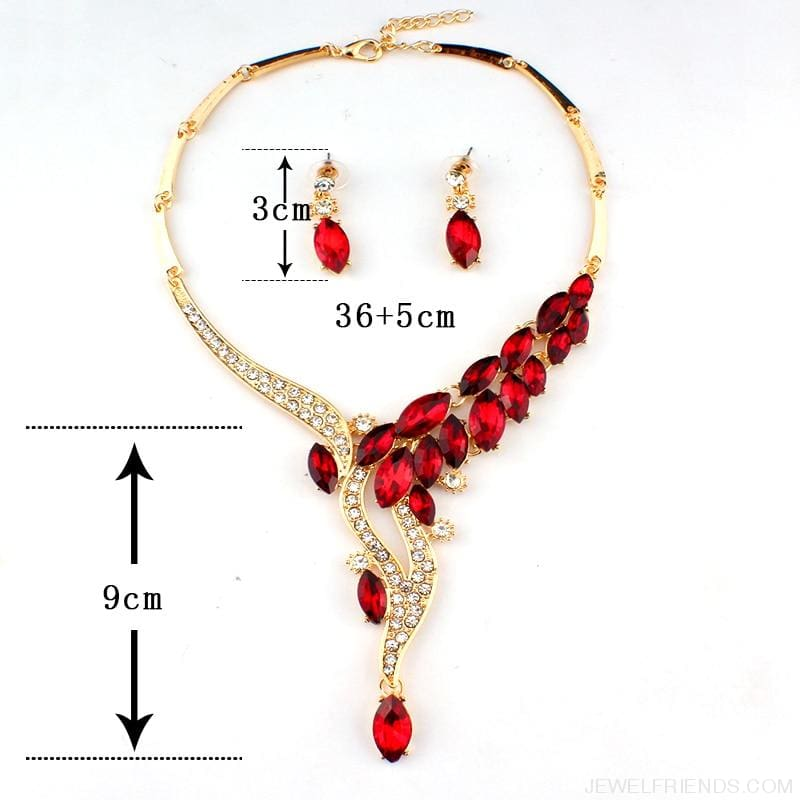 Glamor Asian Style Red Crystal Jewelry Set - Custom Made | Free Shipping