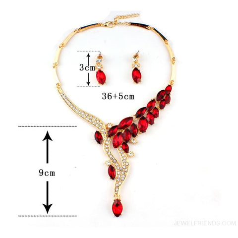 Image of Glamor Asian Style Red Crystal Jewelry Set - Custom Made | Free Shipping