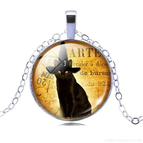 Image of Glass Cabochon Black Cat Picture Chain Necklace - 10 - Custom Made | Free Shipping