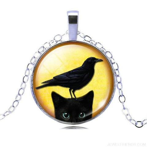 Image of Glass Cabochon Black Cat Picture Chain Necklace - 12 - Custom Made | Free Shipping