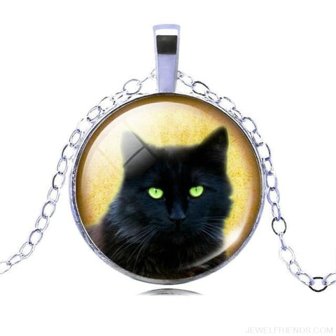 Image of Glass Cabochon Black Cat Picture Chain Necklace - 4 - Custom Made | Free Shipping