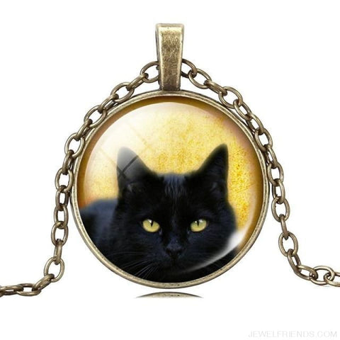 Image of Glass Cabochon Black Cat Picture Chain Necklace - 7 - Custom Made | Free Shipping
