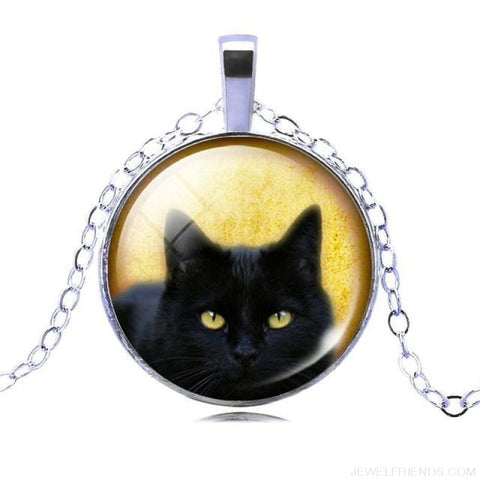 Image of Glass Cabochon Black Cat Picture Chain Necklace - 8 - Custom Made | Free Shipping