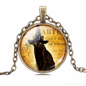 Glass Cabochon Black Cat Picture Chain Necklace