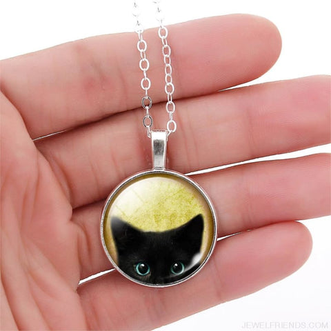 Image of Glass Cabochon Black Cat Picture Chain Necklace - Custom Made | Free Shipping